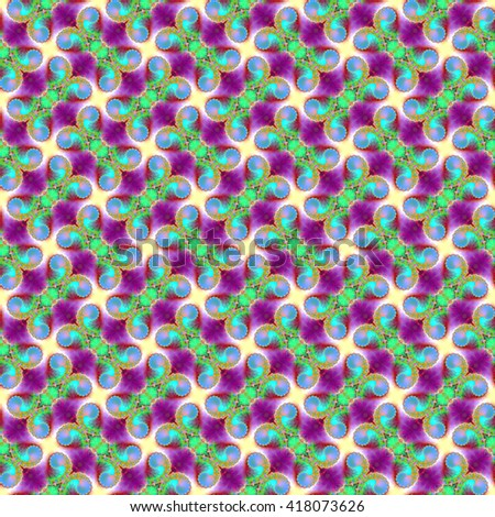 Seamless fractal pattern, violet-azure. Abstract bright wall-paper, a print for fabric, decorative textiles, packing paper, etc. - stock photo