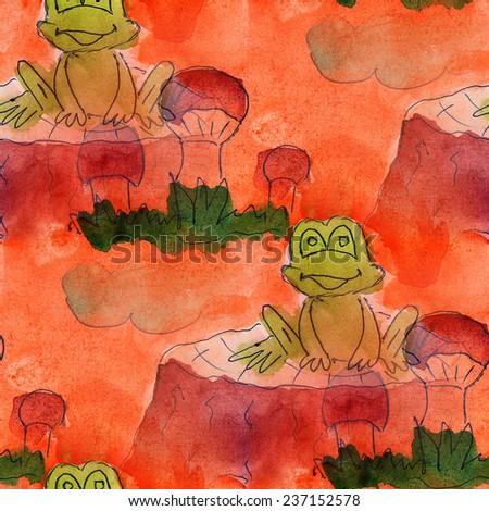 Seamless Frog Mushroom Cloud Cartoon Paint Brush Watercolor Artist Wallpaper Modern Texture Of