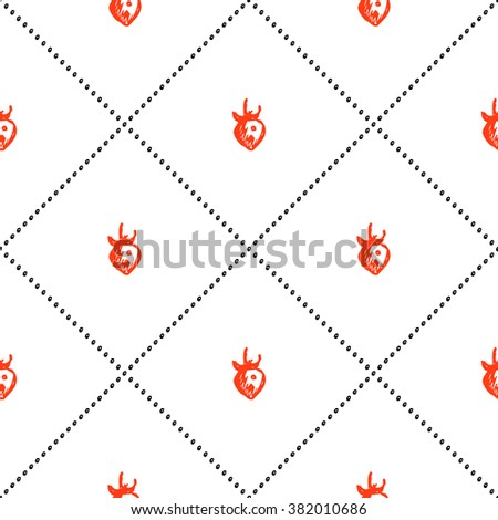 Seamless fruits raster pattern, bright background with strawberries on the white backdrop. Hand sketch drawing. Series of Fruits and Hand Drawn Patterns. - stock photo