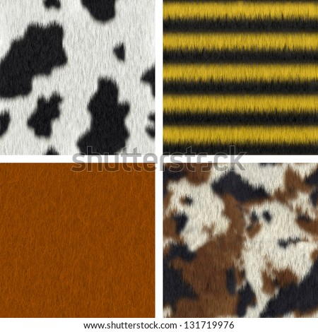 Seamless fur textures : cow, bee, fox, pony (3D render) - stock photo