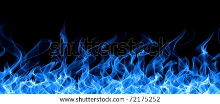 Seamless gas fire and flame border - stock photo