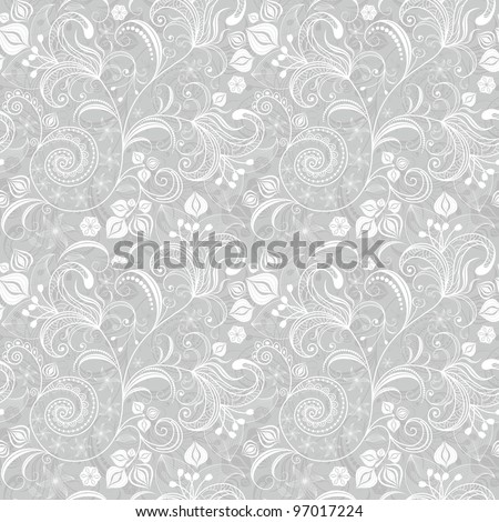 Seamless gentle gray-white floral pattern with vintage flowers - stock photo