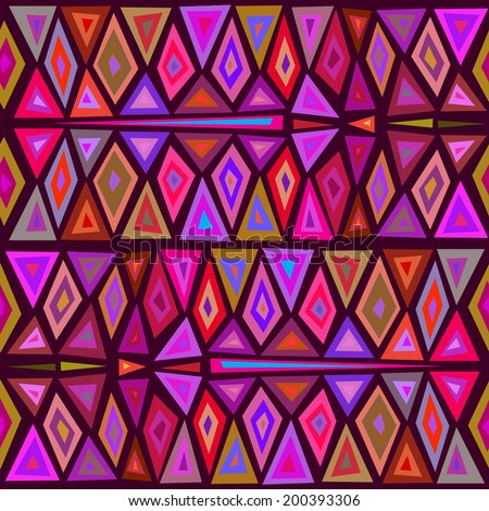 "Seamless geometric pattern ""African motifs."" Multicolor pattern of triangles and rhombuses."