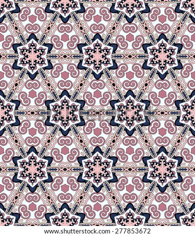 seamless geometry vintage pattern, ethnic style ornamental background, ornate floral decor for fabric design, endless texture, raster version - stock photo