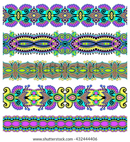 seamless geometry vintage pattern, ethnic style ornamental background, ornate floral decor for fabric design, endless texture, raster version illustration - stock photo