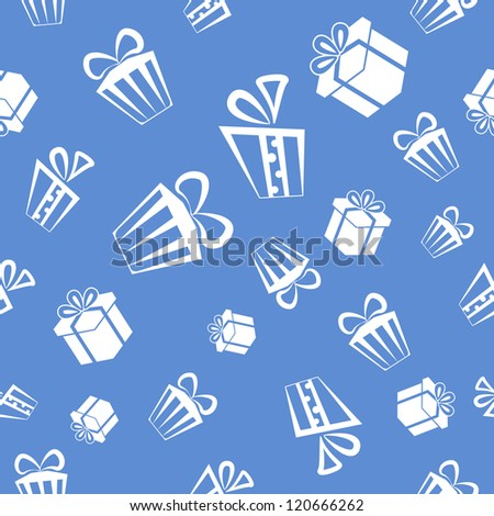 Seamless Gift pattern background, white presents on blue background