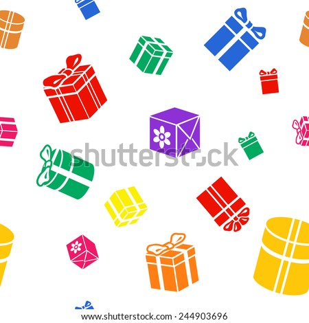 Seamless  Gift pattern, colored red blue yellow green gift boxes on white background - stock photo
