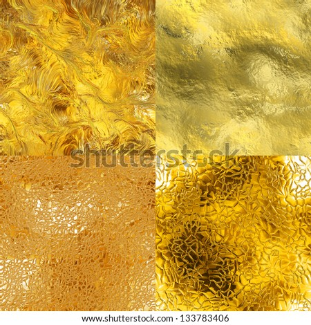Seamless gold textures set (computer graphic, big collection) - stock photo