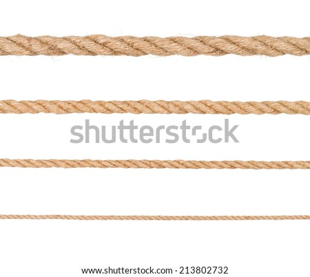 Seamless golden rope on white background - stock photo