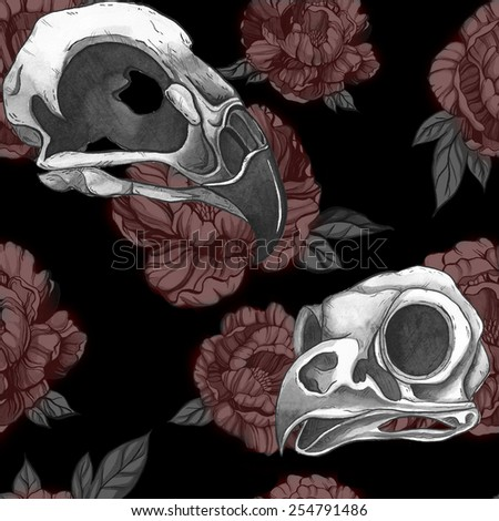 Seamless gothic and punk pattern with peonies and bird skulls - stock photo