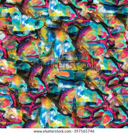 Seamless graffiti wall background. - stock photo