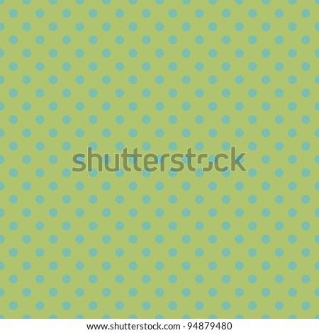 Seamless Green & Aqua Polkadot Background Wallpaper - stock photo