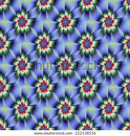 Seamless Green Blue and Rust Daisy Flower / A digital abstract fractal image with a tiled, seamless nine petal daisy flower design in blue, green and rust red. - stock photo