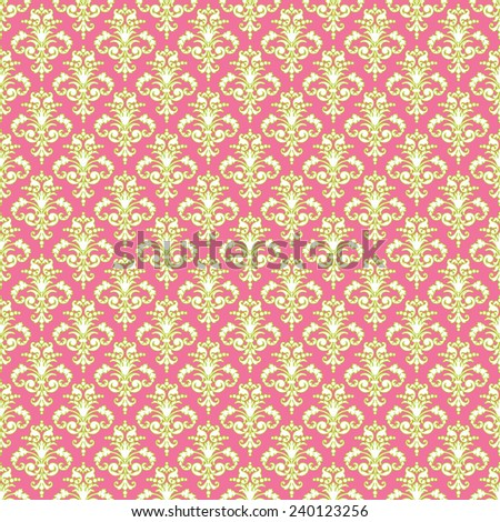 Seamless Green, Pink, & White Damask - stock photo
