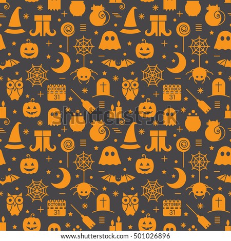 Seamless Halloween colourful orange and black pattern with festive Halloween icons. Design for wrapping paper, paper packaging, textiles, holiday party invitations, greeting card.