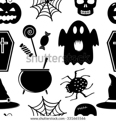 Seamless halloween pattern  - stock photo