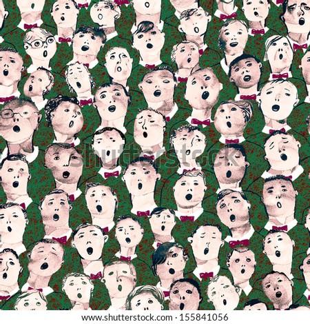 Seamless hand drawn boy's choir illustration - stock photo