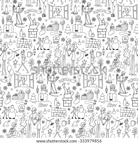 Seamless hand drawn doodle winter pattern. Vector illustration of Christmas elements for greeting cards, invitation, backgrounds, wrapping
