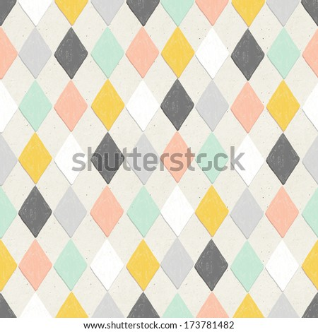Seamless hand drawn geometric pattern on paper texture