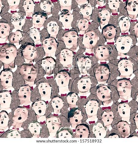 Seamless hand drawn illustration of boys choir - stock photo