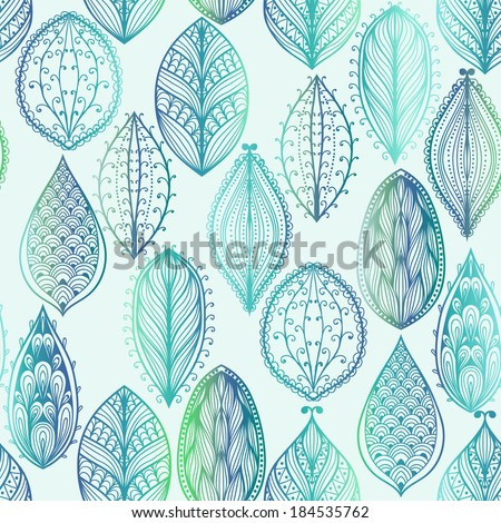 Seamless hand drawn pattern with blue watercolor leaves. Raster version - stock photo