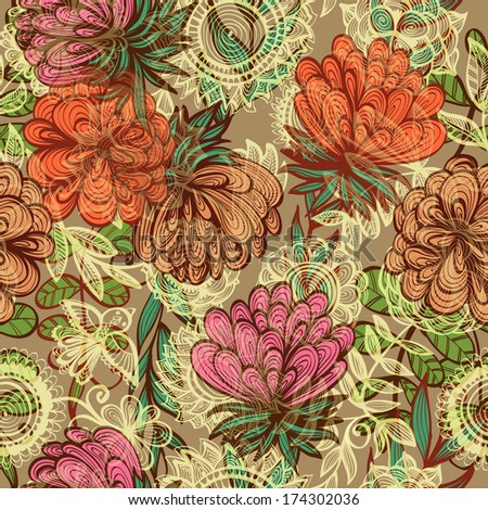 Seamless hand drawn vintage floral pattern. Raster version - stock photo
