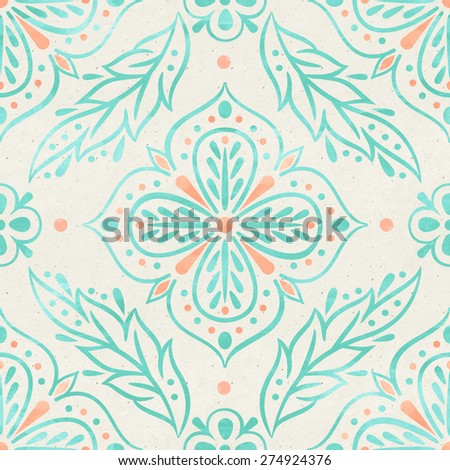 Seamless hand illustrated pattern on paper texture - stock photo