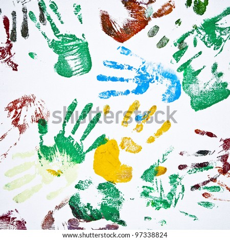 Seamless hands background isolated on white