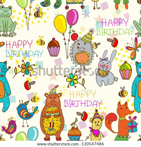 Seamless Happy birthday background, funny cartoon set with mouse, fox, bear, wolf, frog, hedgehog and hare - stock photo