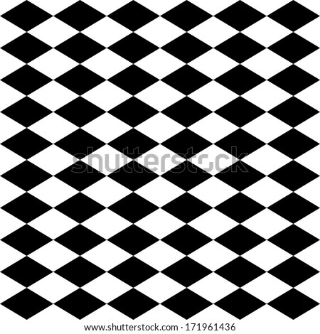 Seamless harlequin or argyle pattern made of black diamonds over white  - stock photo