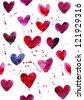 seamless heart watercolor pattern - stock photo