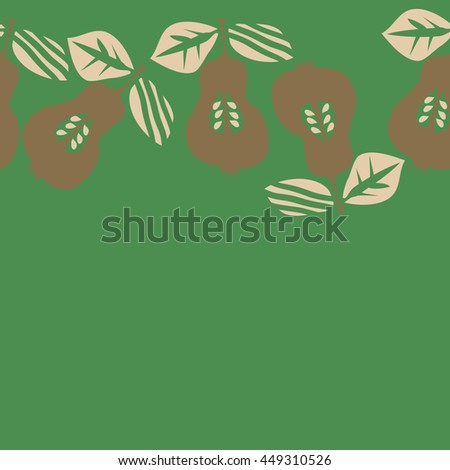 Seamless  horizontal pattern of fruits, doodles,  object, pears, leaves, grains, hole, copy space. Hand drawn.