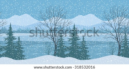 Seamless Horizontal Winter Christmas Mountain Woodland Landscape with River, Trees Silhouettes and Snowflakes.