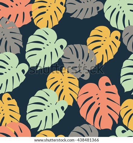 seamless illustration leaf monstera in a flat style green yellow coral leaves in a dark background - stock photo