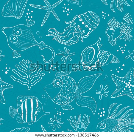 seamless inlay of sea creatures, corals and shells. Pink path in the emerald background.  Raster version of vector file - stock photo