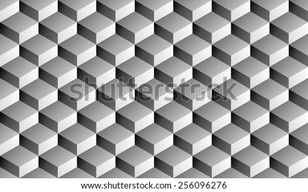 Seamless isometric grayscale gradient flattened cubes optical illusion pattern - stock photo