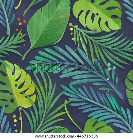 Seamless jungle leaf pattern on paper texture. Tropical background.