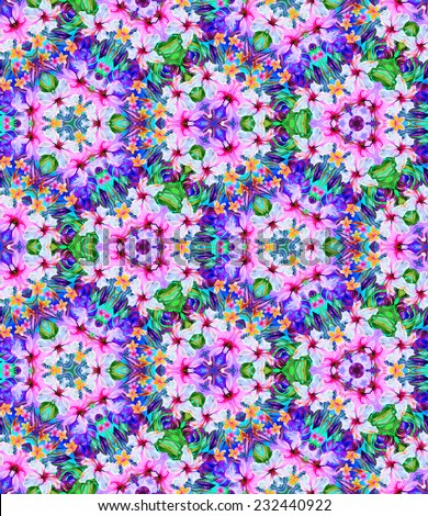 Seamless kaleidoscopic pattern with tropical flowers. fractals of exotic flowers and leaves. - stock photo