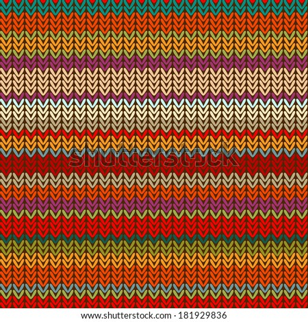 Seamless knitted pattern of colorful bright stripes.Raster.