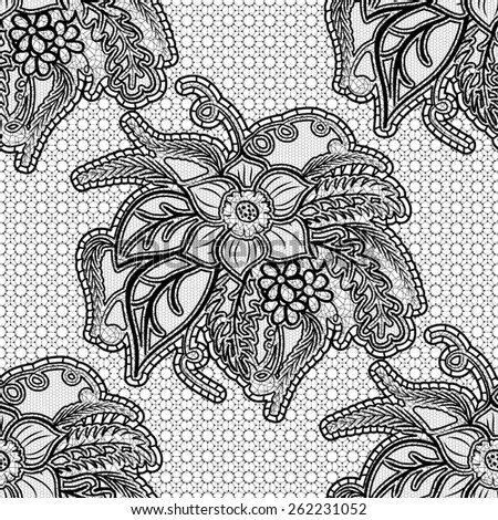 Seamless lace fabric. Black floral openwork pattern on a gray background. Rasterized version. - stock photo