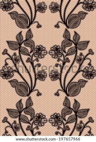 Seamless lace pattern. Black fishnet flowers on a pink background. For design invitations and greeting cards. - stock photo