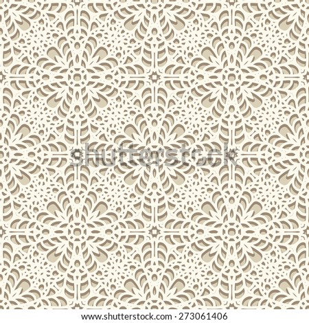 Seamless lace pattern, knitted or crochet texture, handmade lacy raster background - stock photo