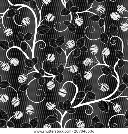 Seamless lace pattern with raspberry on black background. Raster version illustration - stock photo