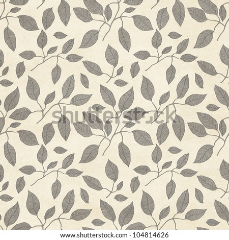 Seamless leafy pattern on paper texture. Floral background - stock photo