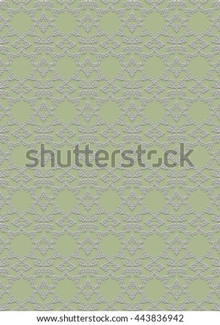 Seamless light colored floral pattern on greenish background - stock photo