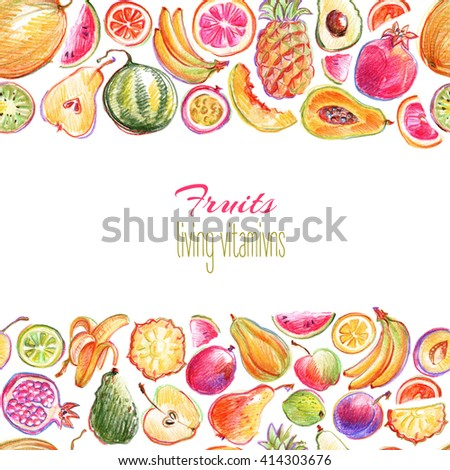 Seamless linear pattern with hand drawn by color pencil bright stylish fruits