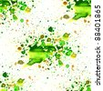 seamless macro texture green watercolors with brush strokes - stock photo