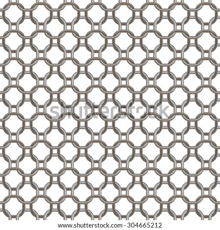 Seamless mesh circular chain links. Isolated on white background. - stock photo