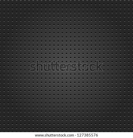 Seamless metal surface texture dotted perforated black background. This image for clip-art design element is a bitmap copy of my vector illustrations. - stock photo
