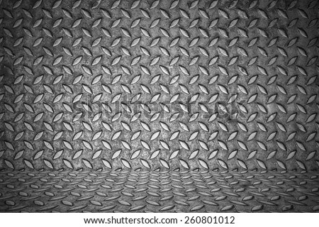 seamless metal texture, Table of steel sheet with metal floor inside - stock photo